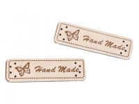 Eticheta piele Hand made, 15x50 mm crem