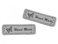 Eticheta piele Hand made, 15x50 mm gri