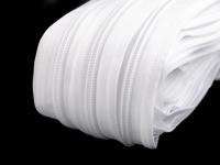 Fermoar spiralat metraj, cursor BX, lățime spirală 5 mm -alb