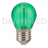 Bec LED 2W, Filament, E27, G45, Culoare Verde