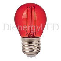 Bec LED 2W, Filament, E27, G45, Culoare Rosu