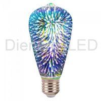 Bec LED 3W, E27 cu Filament, 3D, ST64,Lumina Calda (3000K) AC220-240V