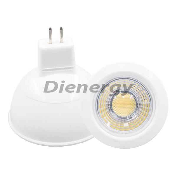 Bec Spot LED COB 5W, MR16, GU5.3, 12V, lumină albă caldă