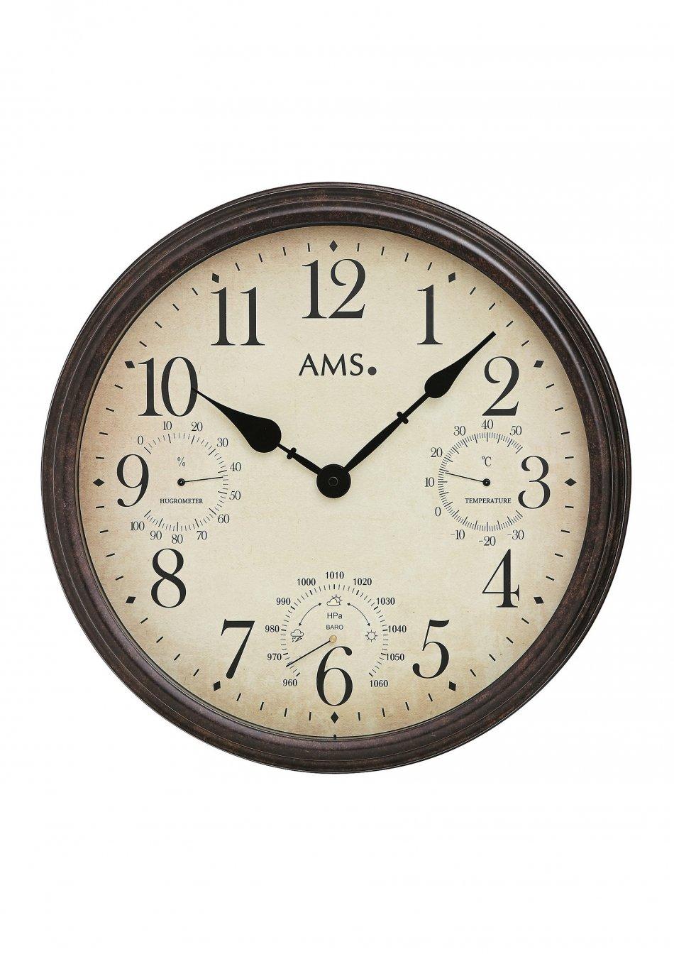 Ceas de perete cu barometru carcasa din metal D42cm AMS 9463