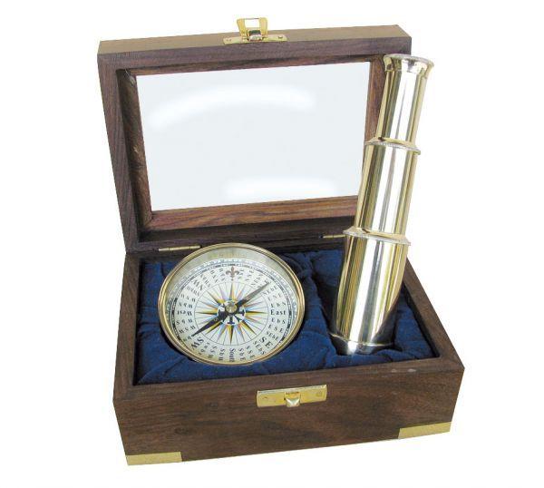 Set busola Ø: 7,5cm si telescop L: 15cm, alamă, în cutie de lemn cu capac de sticlă