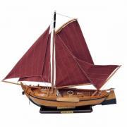 Barca din lemn Botter cu vele de stofa 55x45cm 5042