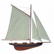 Vele iaht, modelul pe jumătate coca, din lemn cu vele pânză, L: 56cm, H: 52cm, 5051