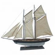 Vele iaht, lemn cu vele stofa, L: 85cm, H: 72cm - modelul complet în finisaj vechi, 5050