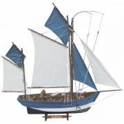 Barcă din lemn cu vele de panza 64x59cm 5151