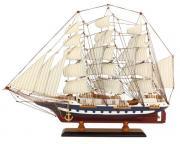 Navă din lemn cu vele de pânză 63x47cm 5055