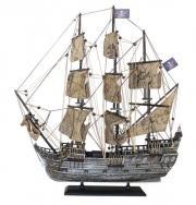 navă pirat, din lemn cu vele stofa, L: 50cm, H: 56cm - finisaj vechi de argint