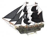 navă pirat, lemn cu vele stofa, L: 78cm, H: 60cm - finisaj vechi