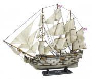 Nava H.M.S.Victory din lemn cu vele de stofa 86x74cm in finisaj vechi 5181