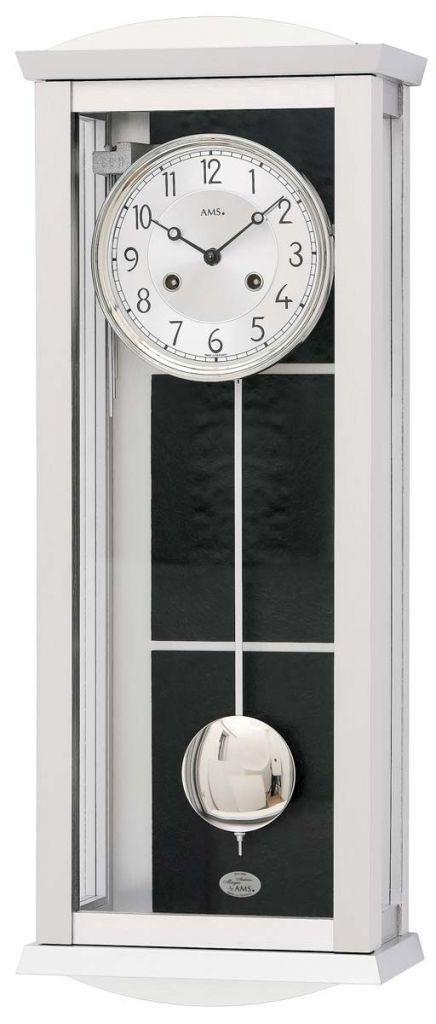 Ceas de perete AMS 2752, Mecanic, Argintiu