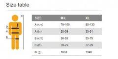 SR Size Chart ML XL