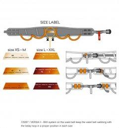 SR Versa II size adjusting label