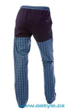 O Style Pantaloni lungi in carouri albastru spate