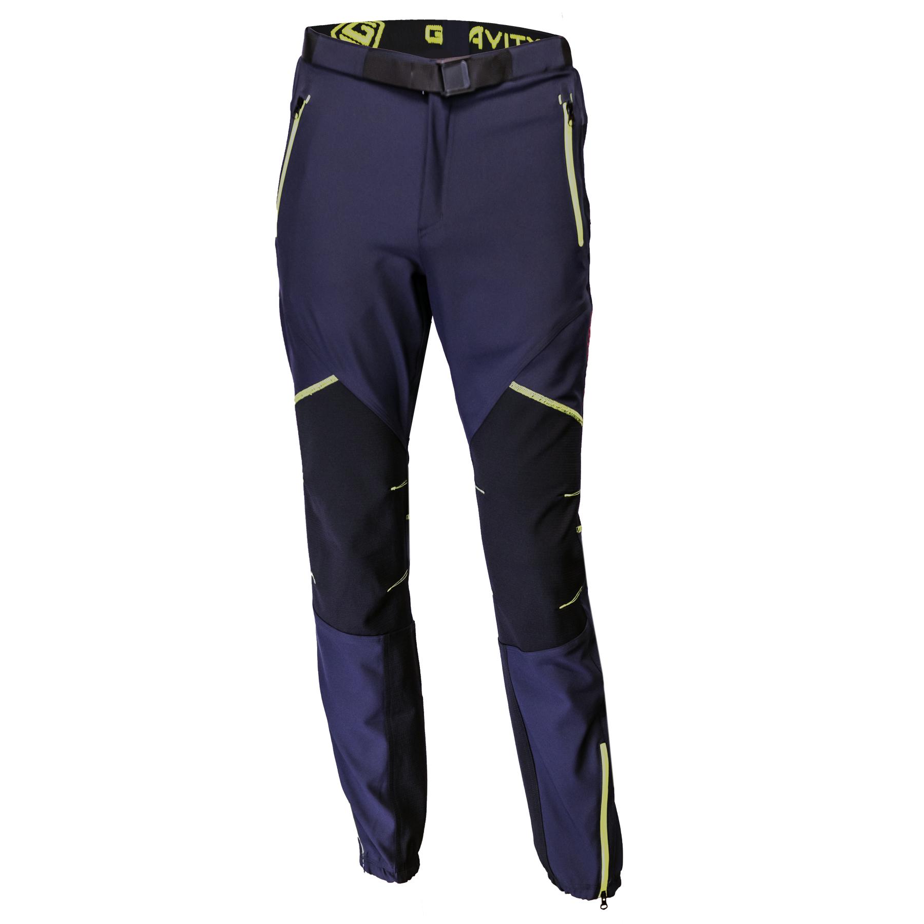 pantaloni bleumarin fermoar galben