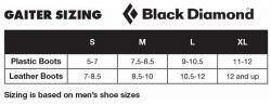 Size Chart Gaiter BD