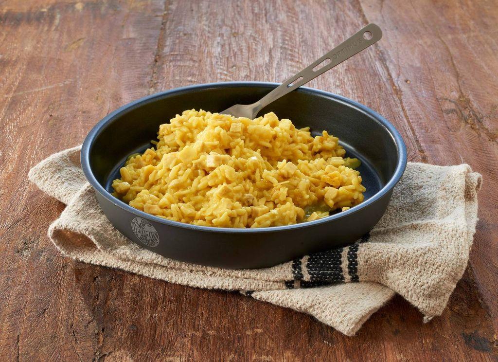 Mîncare liofilizată pui cu orez și curry TreknEat farfurie