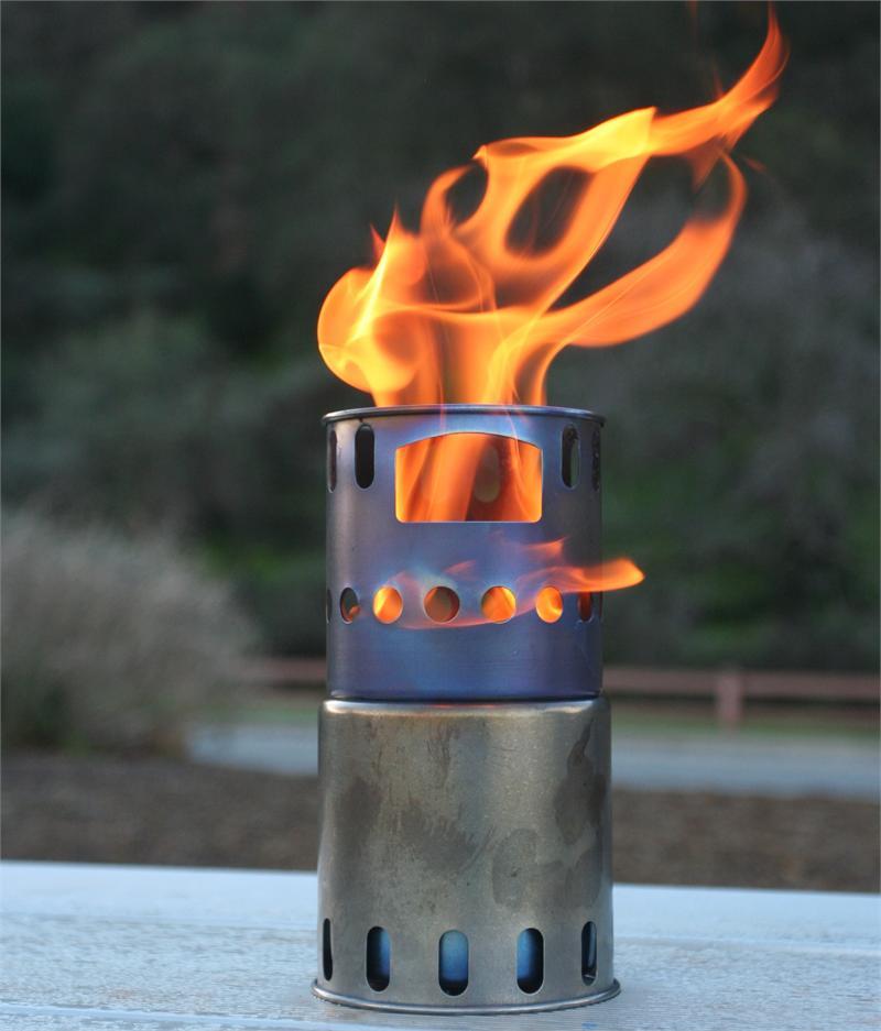 Titanium backpacking wood burning stove