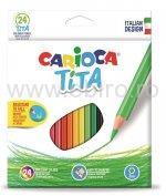Creioane colorate hexagonale Carioca Tita, 24 bucati