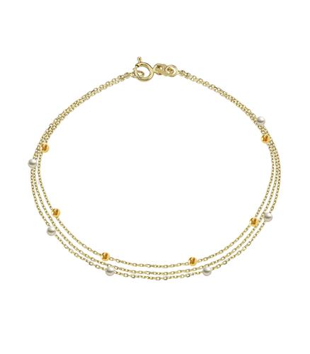 Bratara placata cu aur 18K, 3 in 1 cu perle si perle placate