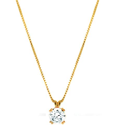 Lantisor placat cu aur 18K cu medalion din Zirconiu