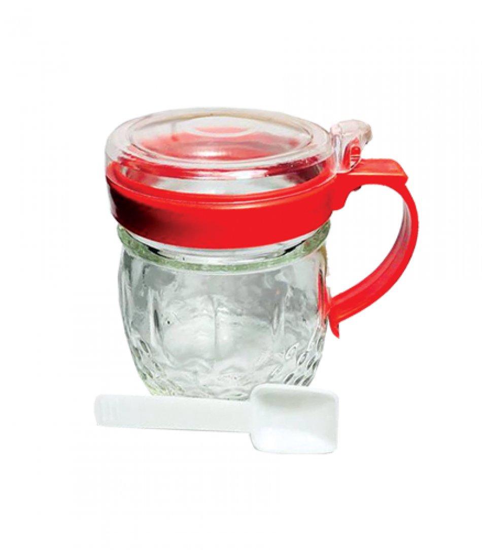 Zaharnita din sticla cu lingurita