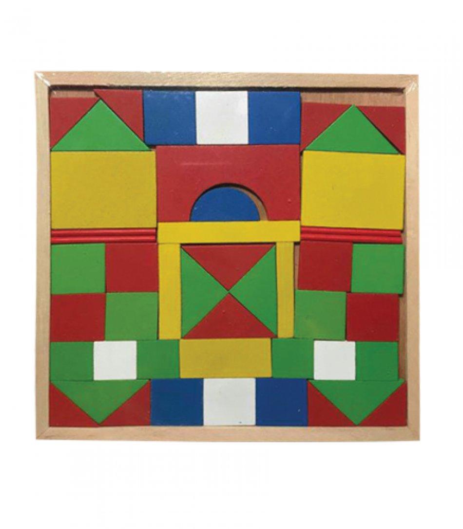 Puzzle din lemn pentru copii, castel cu 50 de piese