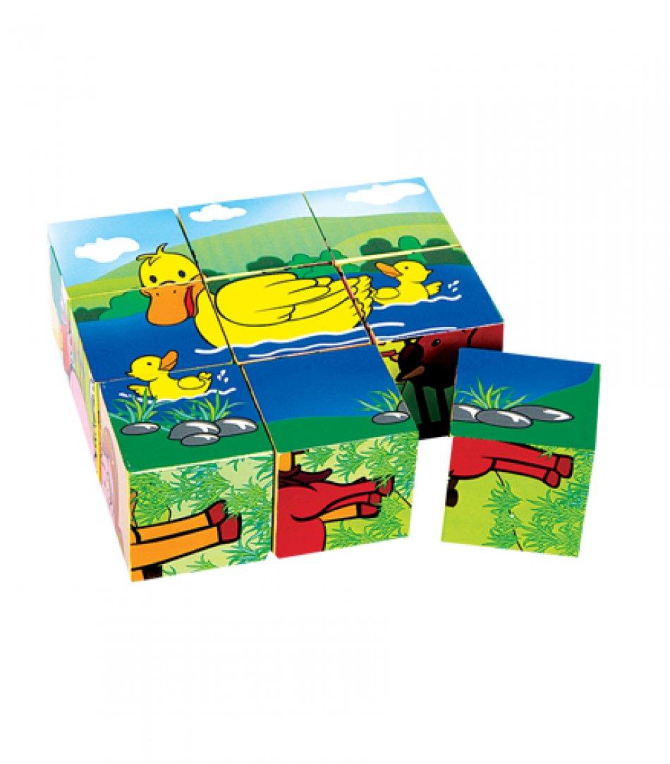Puzzle din lemn pentru copii, 9 cuburi cu 4 desene