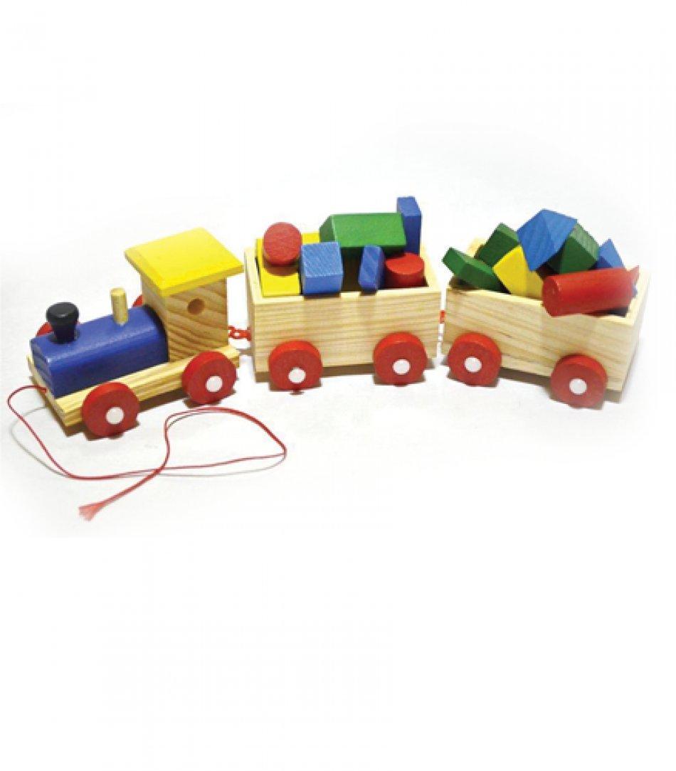 Trenulet din lemn cu accesorii pentru copii