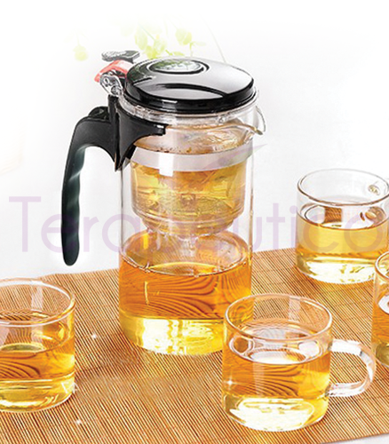 Ceainic din sticla cu infuzor 1L