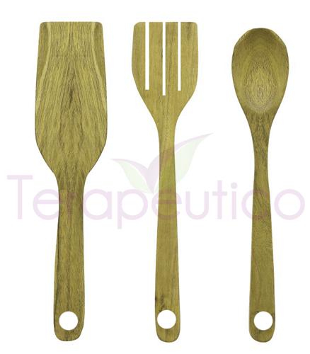 Set 3 linguri din bambus