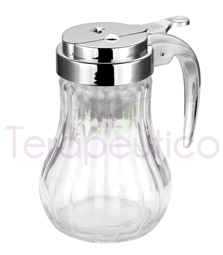Dozator din sticla cu opritor pentru zahar, miere, etc