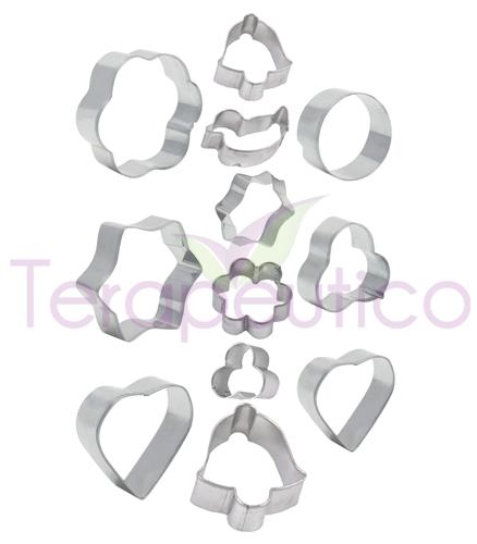 Set 12 forme din metal pentru prajituri, biscuiti