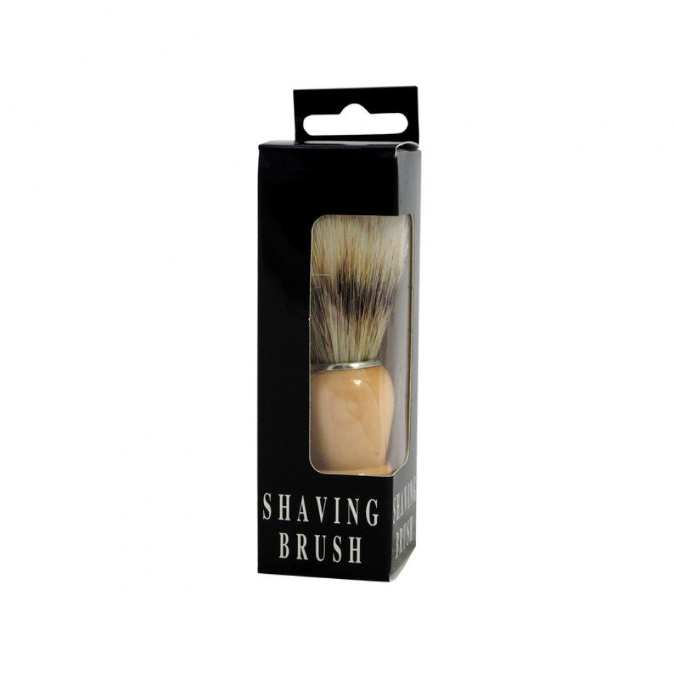 Pamatuf pentru barbierit din par natural si maner lemn