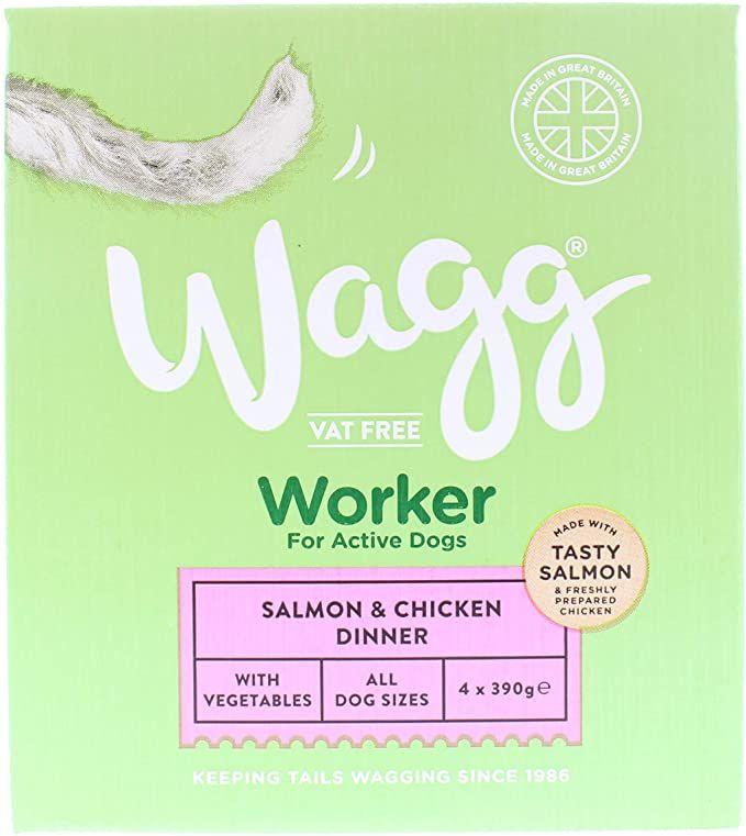 Hrana umeda pentru caini activi, de toate talile, Wagg Worker Salmon & Chicken 390 g