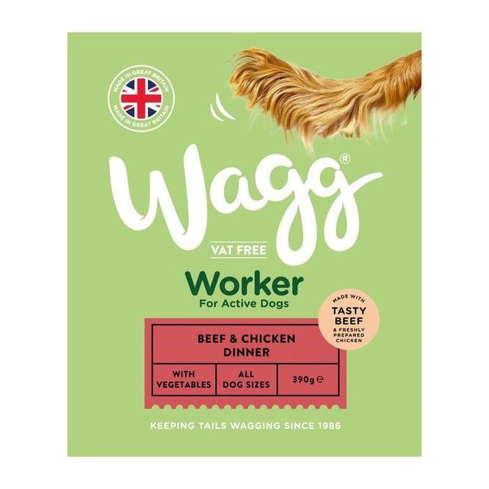 Hrana umeda pentru caini activi, de toate talile, Wagg Worker Beef & Chicken 390 g