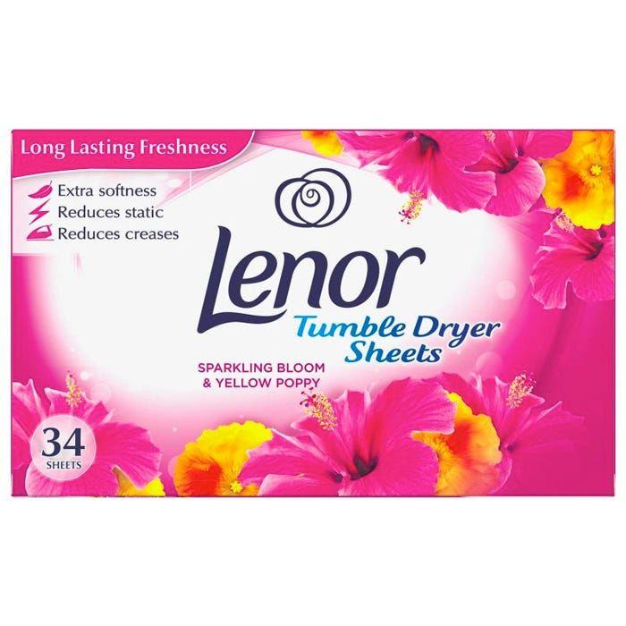 Servetele parfumate Lenor Sparkling Bloom & Yellow Poppy, pentru uscator rufe 34 buc