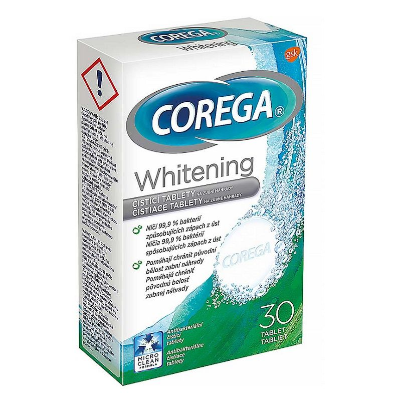 Tablete efervescente pentru curatarea & albirea protezei dentare Corega Whitening 4 in1, 30 buc