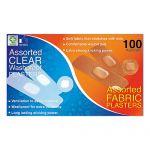 Plasturi asortati Clear Washproof & Fabric Plasters 100 buc