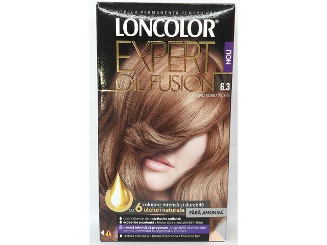 Vopsea permanenta fara amoniac pentru par Loncolor Expert oil Fusion 6.3 Blond Auriu Inchis