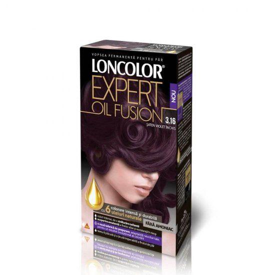 Vopsea permanenta fara amoniac pentru par Loncolor Expert Oil Fusion 3.16 Saten Violet Inchis