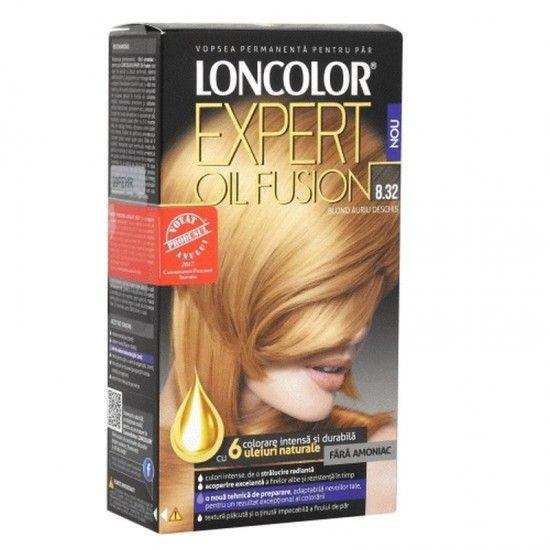 Vopsea permanenta fara amoniac pentru par Loncolor Expert Oil Fusion 8.32 Blond auriu Deschis