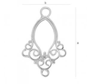 chandelier,ag .925  21.1* 13.1 mm cod ag012