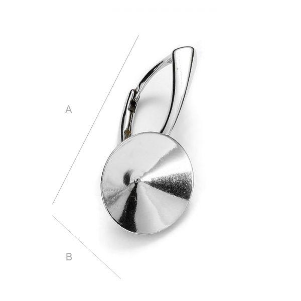 tortita,argint 925  23 *12 mm  pentru swarovski 1122 de 12 mm