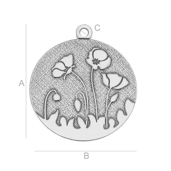 Pandantiv AG .925 14*22 mm cu flori