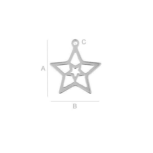Pandantiv steluta,AG .925 15.20*13.50 mm 0.23 g