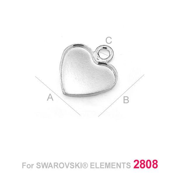 pandant argint 925  pentru swarovski 2808 10 mm